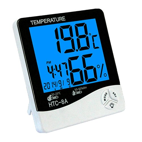 GuDoQi Digital Hygrometer Thermometer Backlight Temperature and Humidity Meter with Alarm Function Calendar Time Display for Home Office Baby Room Wine Cellar by GuDoQi