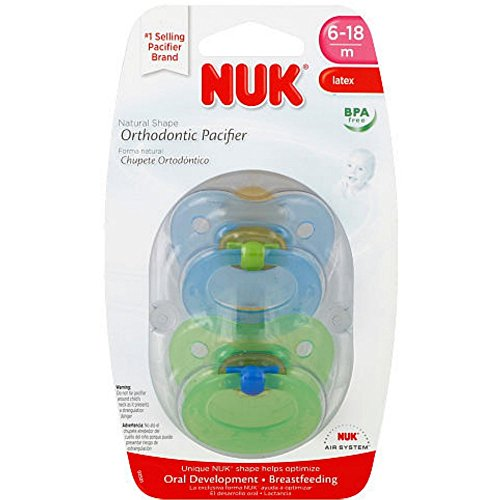 NUK Natural Shape Orthodontic Pacifiers, Latex, 6-18 Months Colors May Vary 2 ea (Gerber Nuk Pacifier)