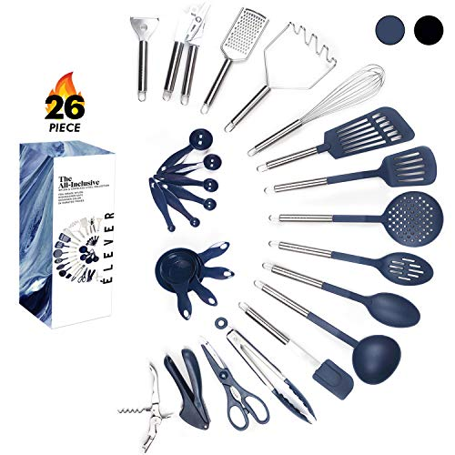 Kitchen Utensil Set - 26 Kitchen Gadgets & Cooking Utensils. Stainless Steel Kitchen Utensils for Nonstick Cookware Set. Spatula Set. Best Kitchen Tools Apartment Essentials Gifts for him - ÉLEVER ()