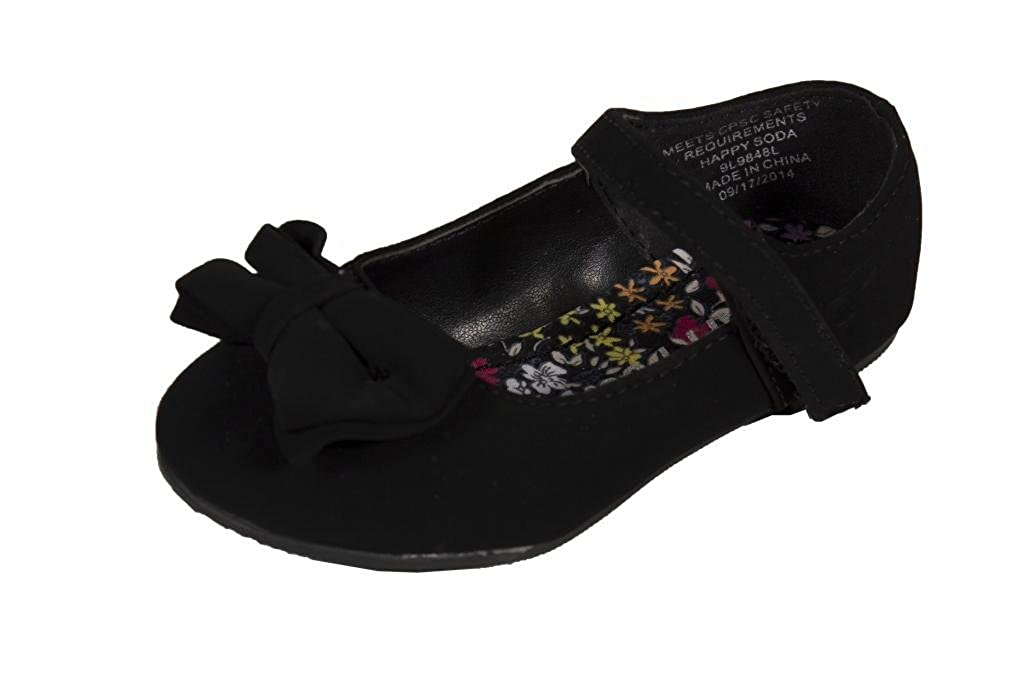 SODA Kids Girly Riona-2Q Bow Mary Jane Flat Baby Shoes in Black Nubuck Faux Suede