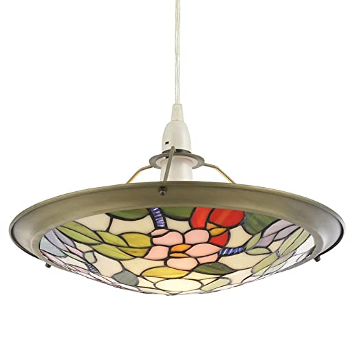 Tiffany Style Easy Fit Ceiling Lamp Shade Shallow Dish Uplighter Living Room  Hallway Bedroom Dining Room