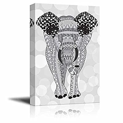 Beautiful Piece, That's 100% USA Made, Gray Hand Drawn Zentangle Elephant on a Silver Colored Bokeh Background