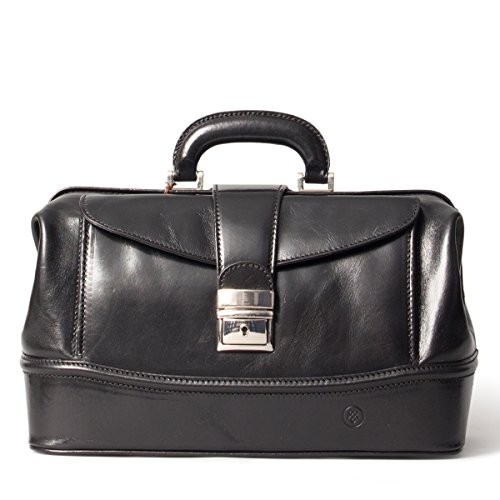 Maxwell Scott Luxury Black Leather Medical Bag (The DonniniS) - Small