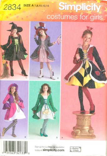 Simplicity 0487 2834 sewing pattern makes Girls Halloween Costumes Witch Queen of Hearts Patriot Jester Irish Dancer makes sizes