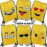 Emoji Drawstring Shoulder Backpack Bag Bulk for Girl & Boy, Kiddie Treats Such as Toy Gift Sack, Kids' Carry Cinch Bag, Promotional Durable Daypack, Carton Emoticon Bday Party Supplies Favor, 12 Pack