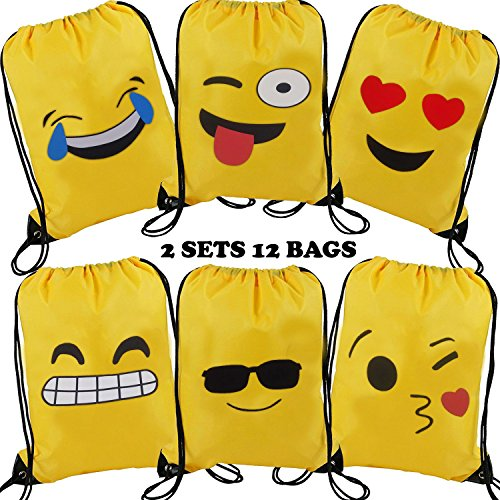 Emoji Drawstring Shoulder Backpack Bag Bulk for Girl & Boy, Kiddie Treats Such as Toy Gift Sack, Kids' Carry Cinch Bag, Promotional Durable Daypack, Carton Emoticon Bday Party Supplies Favor, 12 Pack