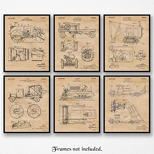 Original Construction Trucks Patent Art Poster Prints- Set of 6 (Six 8x10) Unframed Photos- Great Wall Decor Gifts Under $20 for Men, Home, Office, Garage, Man Cave, Shop, Teacher, Student, Fan