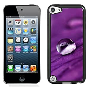 New Beautiful Custom Designed Cover Case For iPod 5 With Water Drops On A Purple Petal Phone Case