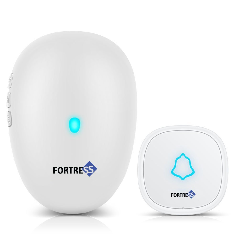 Wireless Doorbell Chime by Fortress Security Long Range Operation at 500 ft. Plug in Doorbell with Over 50 Chimes Rings Wireless Button Adjustable Volume Multi tones