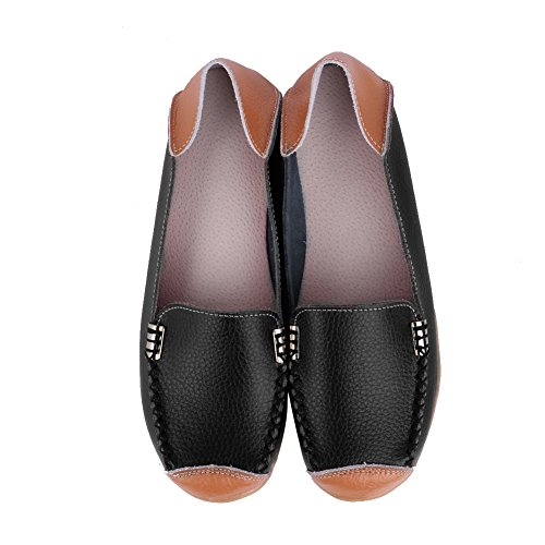 CIOR Womens Genuine Leather Loafers Casual Moccasin Driving Shoes Indoor Flat Slip-on Slippers 8.black AqbzmYD7