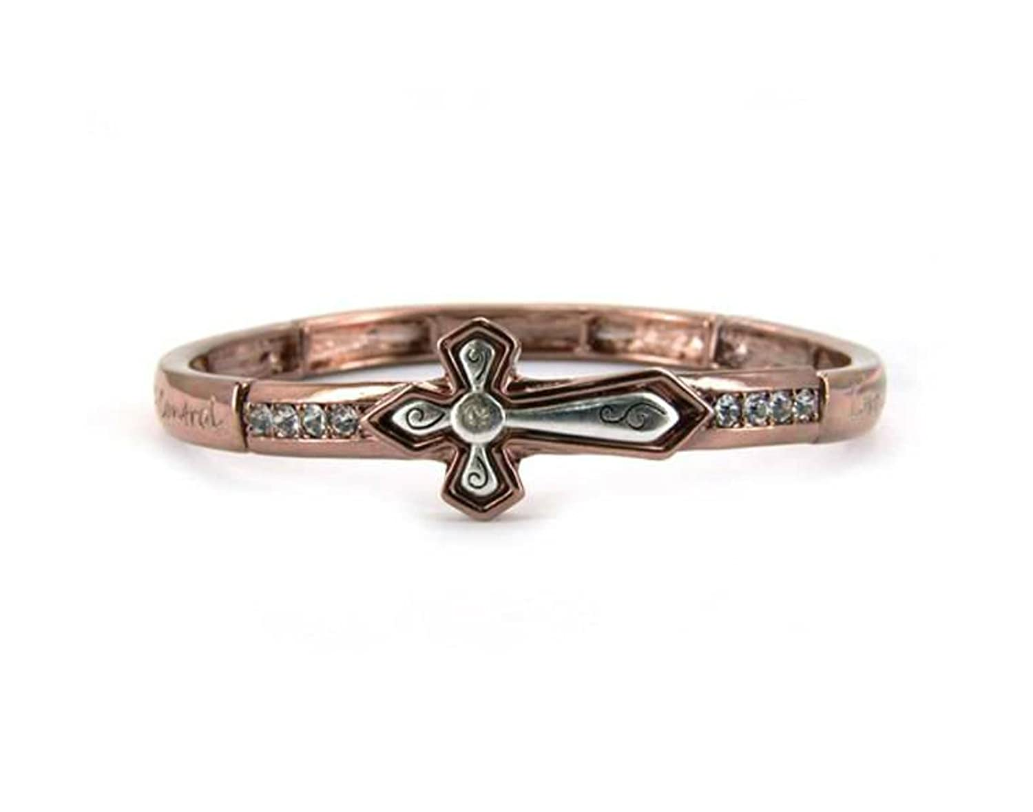 """The Fruit of the Spirit"" Religious Inspirational Engraved Copper-tone Stretch Bracelet By Athena Brand"