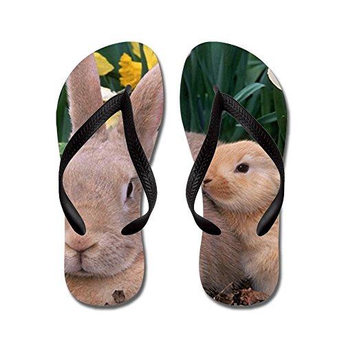 Price comparison product image Royal Lion Kid's Spring Easter Bunny Rabbits Black Rubber Flip Flops Sandals 9-11
