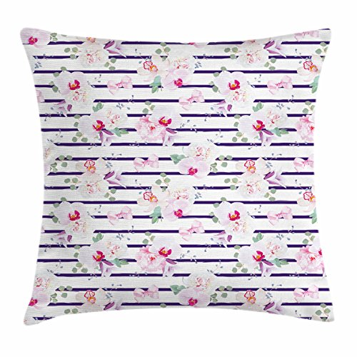 Ambesonne Purple and Blush Throw Pillow Cushion Cover, Spring Bouquets Stripes Orchid Peony Bell Flowers Feminine, Decorative Square Accent Pillow Case, 16 X 16 Inches, Purple Pink Reseda Green