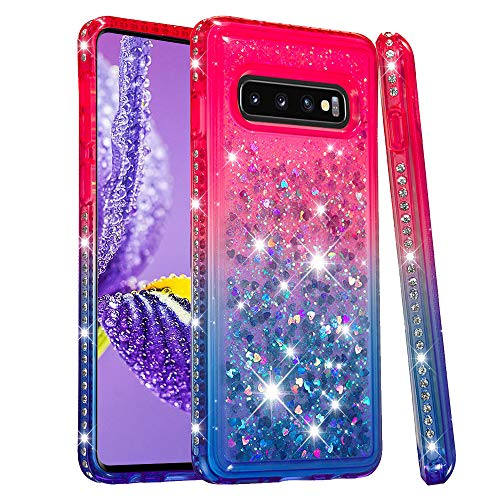 Glitter Liquid Case for Samsung Galaxy S10,Moiky Luxury Creative Gradient 3D Crystal Quicksand Floating Love Heart Design Shock Absorbing Diamond Phone Case For Samsung Galaxy S10,Pink+Blue