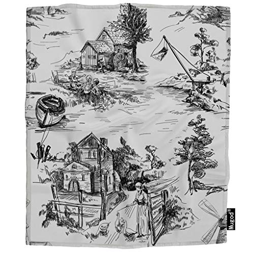 Mugod Classic Old Town Blanket Village Arcadian Scenes of Fishing Goose Watermill Fuzzy Soft Cozy Warm Flannel Throw Blankets Decorative for Adults Kids Women Men Girls Boys 60x80 Inch