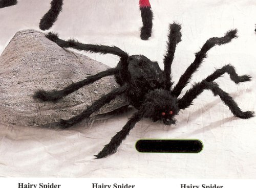 90 INCH - JUMBO SIZED HALLOWEEN HAIRY POSABLE BLACK SPIDER by The Gothic Collection