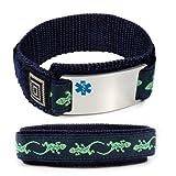 MENTAL RETARDATION Sport Medical ID Alert Bracelet with Lizard Velcro wrist band.