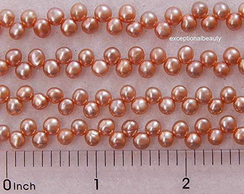 Tan Taupe Genuine Cultured Freshwater Top Drilled Pearl Flat Back Button Beads ()