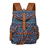 Women Rural Folk Pastoral Style Bag Canvas Backpack School Bag as Casual Travel Shoulder Bag