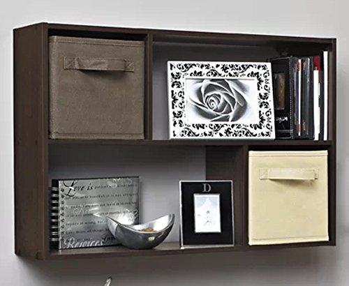 J&M Wall Mounted 4-Shelf Storage Organizer Espresso Wood Display Unit For Storing Books And Displaying Items by J&M (Image #1)