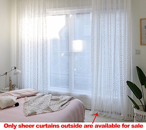 Cottage Lace (ASide BSide Home Decorations Voile Drapes Rod Pockets Sheer Curtains Tiny Floral Striped Lace Cottage Style For Kids Room Dining Room and Living Room (1 Panel, W 52 x L 104 inch, White))