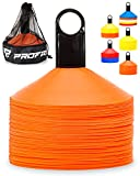Toys : Pro Disc Cones (Set of 50) - Agility Soccer Cones with Carry Bag and Holder for Training, Football, Kids, Sports, Field Cone Markers - Includes Top 15 Drills eBook (Bright Orange)
