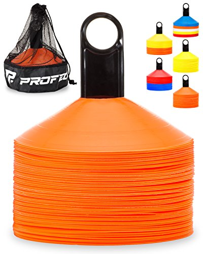 Pro Disc Cones (Set of 50) - Agility Cones with Carry Bag and Holder for Training, Soccer, Football, Kids, Sports, Field Cone Markers - Includes Top 15 Drills eBook (Bright Orange)