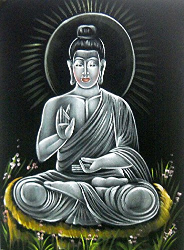 Blessing Lord Buddha/ Indian Buddhist God painting Wall Hanging on Velvet Fabric : Size - 20