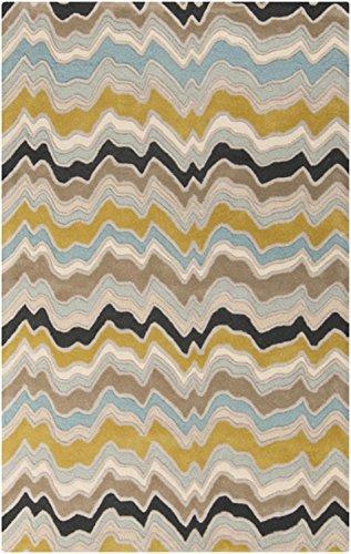 UPC 093422124577, 8' x 11' Frecuencia Ondas Blue Topaz, Mustard Yellow and Black Hand Tufted Wool Area Throw Rug