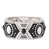 Jewlery11 Silver-Tone Metal Black and White Stretch Indian Bracelet Gift For Her