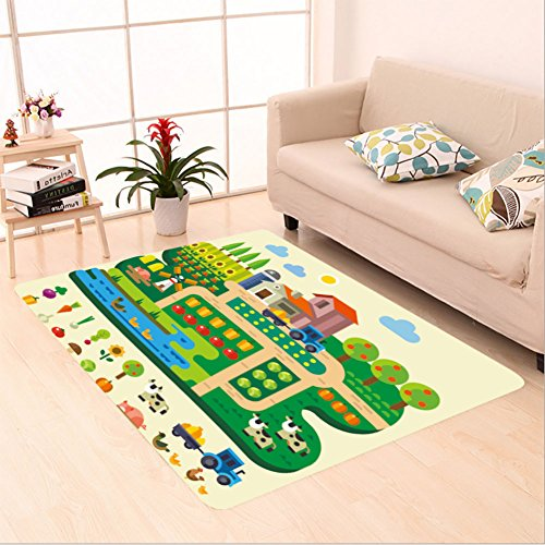 Sophiehome skid Slip rubber back antibacterial Area Rug farm life country house village garden with tractor and windmill fruits and vegetables pumpkin 275203106 Home Decorative from sophiehome