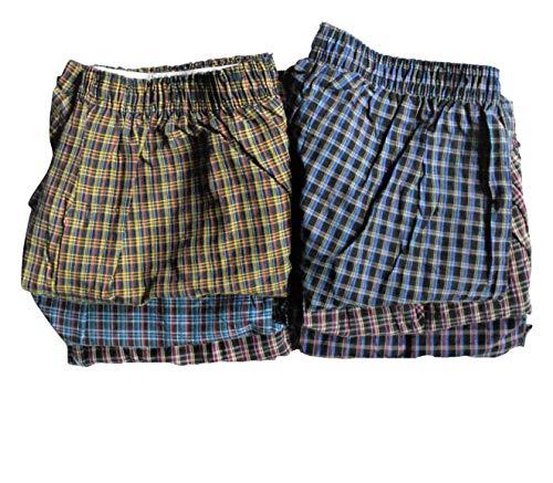 Cotton Plus Men's Premium Boxer Shorts Underwear | Boxers for Men 6 Pack of Assorted Plaids Multi Colors