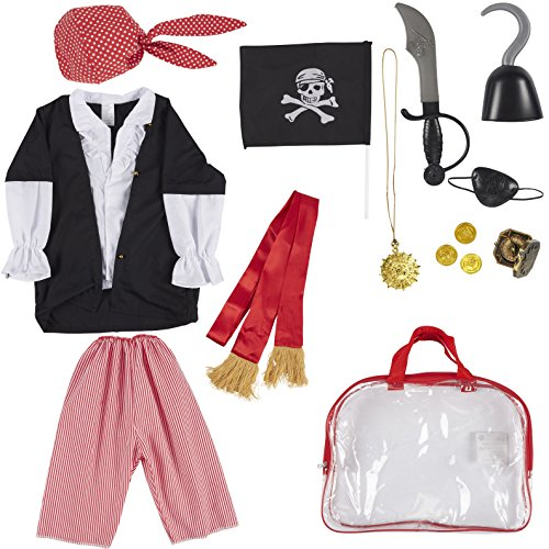 (Pirate Costume Set for Kids - 13-Piece Pirate Role Play Toy Kit with Bandana, Sword, Eye Patch, and Other Accessories for Pretend Play, Halloween Dress Up, School Play for Boys)