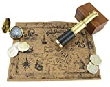 """Well Pack Box Pirate Telescope Spyglass Brass 6"""" Handheld Collapsible Zoomable Nautical Navigation Toy for Adults and Kids Pack with Compass, Coins, Map, and Case"""