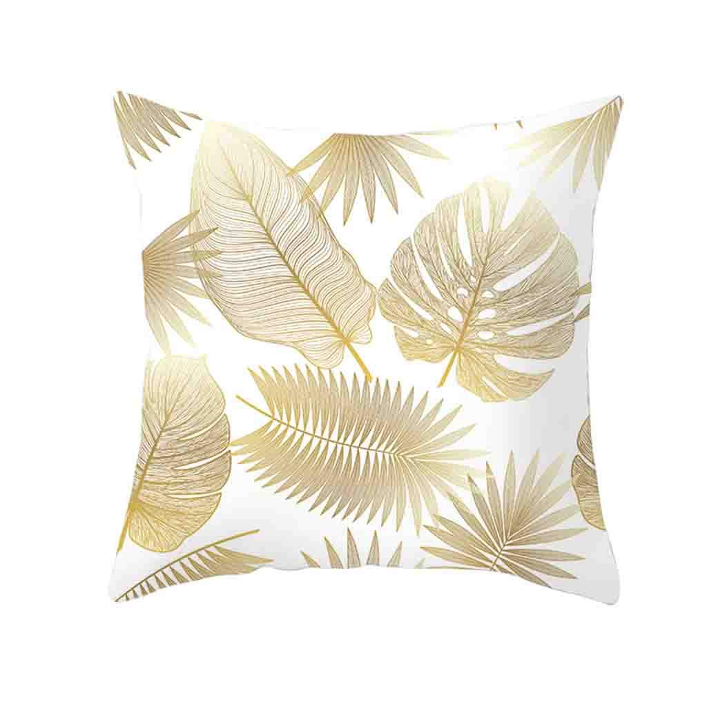 Pet1997 Golden Leaf Hug Pillowcase, Gold Plant Printed Polyester Pillow Case Cover, Sofa Cushion Cover, Home Decor, Luxury Bedding,18 X18 Inch (I)