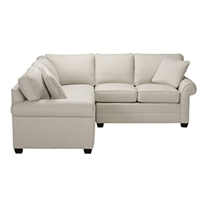 Ethan Allen Bennett Roll Arm Three Piece Sectional, Hailey Ivory Textured  Fabric