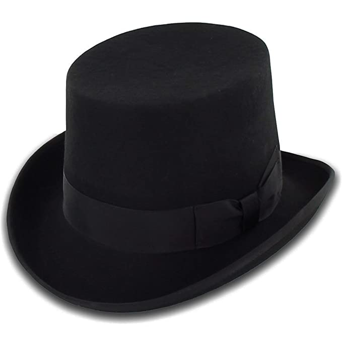 Victorian Men's Hats- Top Hats, Bowler, Gambler Belfry Topper 100% Wool Satin Lined Mens Top Hat in Black Available in 4 Sizes $39.00 AT vintagedancer.com