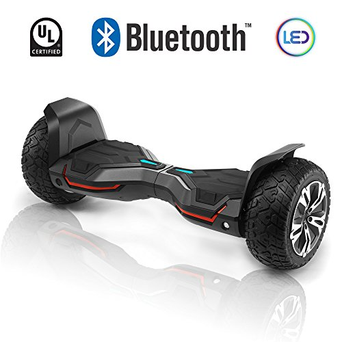 CHO All Terrain Hoverboard Off-Road Smart Self-Balancing Dual Motors Electric Scooter With Built-In Bluetooth Speaker LED Lights UL2272 Certified (Black) (Terrain All Board)