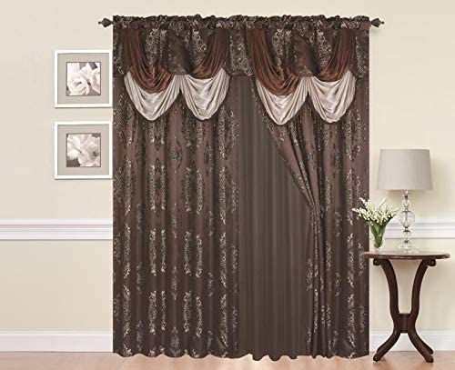 Rod Pocket Jacquard Window 84 Inch Length Curtain Drape Panels w attached Valance Sheer Backing 2 Tassels – 84 Floral Curtain Drape set for Living dining rooms, Layla, 84 , Chocolate Coffee