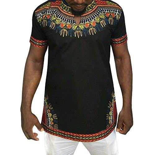 Makkrom Mens African Tribal Dashiki Floral Short Sleeve T Shirt Blouse Tops by Makkrom