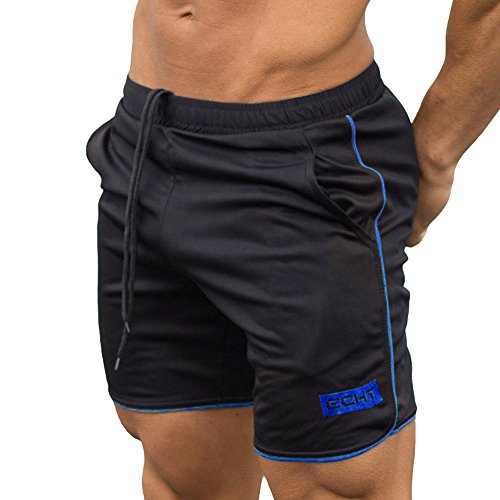 - Men's Sports Boxing Training Bodybuilding Summer Shorts Workout Jogging Drawstring Short Pants (L, Blue)