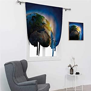 "Room Darkening Curtain Earth Cute Curtains for Window Morning Sunrise Space 30"" Wide by 64"" Long"