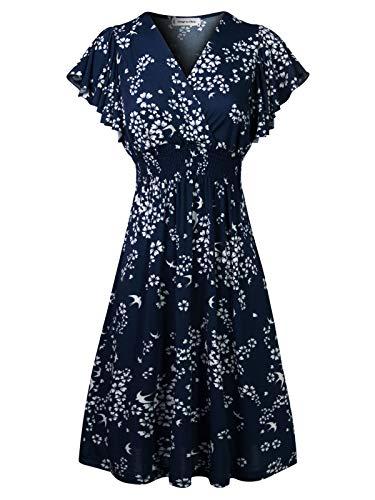 Design by Olivia Women's Deep V Neck Princess Seamed Casual Flared Midi Flower Print Dress Navy L