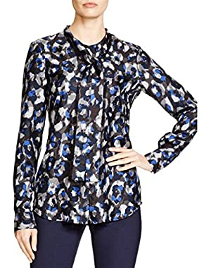 Theory Womens Silk Printed Blouse
