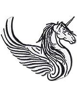 Fantasy Animals Iron on Patch - Unicorn w/ Wings Black & White Design Applique