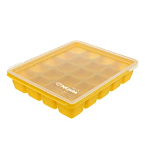 Petinube Silicone Cubes for Baby Food Storage, Silicone Baby Food Freezer Tray with Clip-On Lid, Freezer Storage with Lid for Baby Food, Easy and Safe Design (Mustard, 20 Cubes, 0.4oz portions)