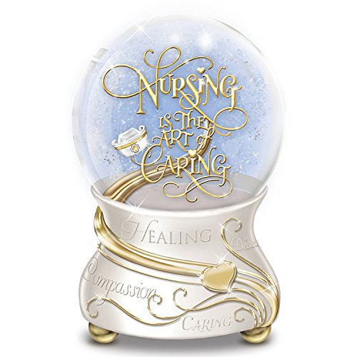 Nursing Is the Art of Caring Musical Glitter Globe with 22K Gold Accents by The Bradford (Inspirational Snowglobe Gift)