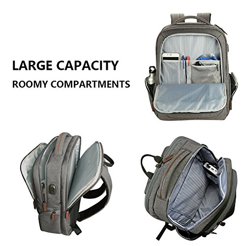 KROSER Laptop Backpack 17.3 Inch Computer Backpack School Backpack Casual Daypack Water-Repellent Laptop Bag with USB Charging Port for Travel/Business/College/Women/Men-Grey by KROSER (Image #4)