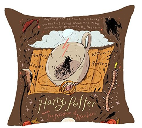 1 Piece 18 x 18 Brown Orange Harry Potter Theme Throw Pillow Cover, White Black The Prision Of Azkaban Movie Cushion Case Gryffindor Ravenclaw Hufflepuff Slytherin Hogwarts School Magic Wand, Cotton