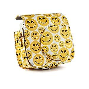 CLOVER Vintage Smile Face PU Leather Case Bag For Fujifilm Instax Mini 9 / Mini 8 / Mini 8+ Instant Film Camera With a Removable Bag Strap
